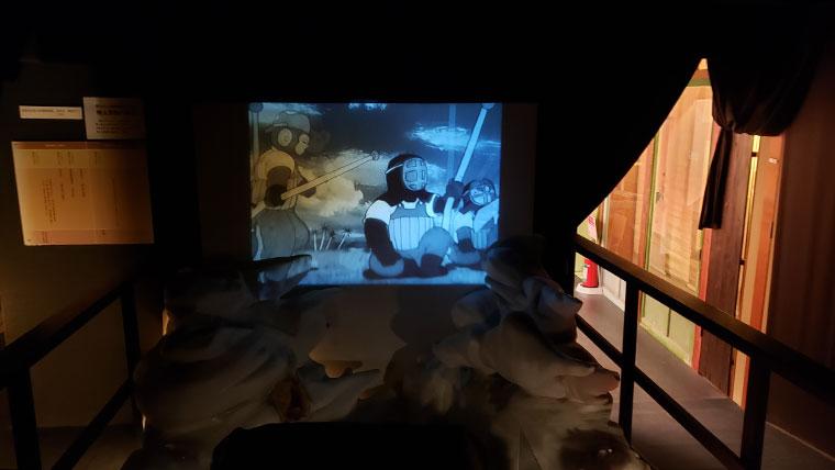桃太郎のからくり博物館 館内 戦時中の映画