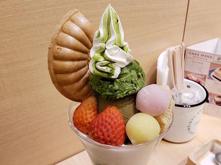 からふね屋CAFE よくばり和風パフェ(抹茶とほうじ茶)